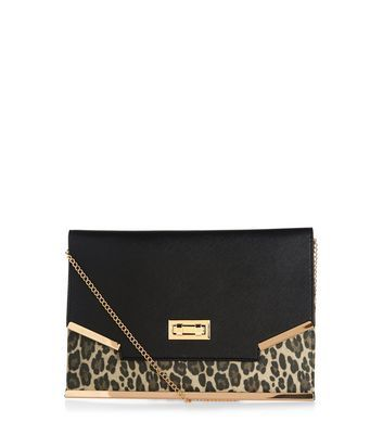 Black Leopard Print Panel Clutch - secondary colour: gold; predominant colour: black; occasions: evening, occasion; type of pattern: standard; style: clutch; length: hand carry; size: standard; material: faux leather; pattern: animal print; finish: plain; multicoloured: multicoloured; season: a/w 2016; wardrobe: event