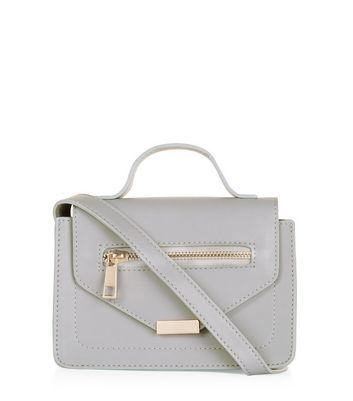 Grey Zip Mini Satchel - predominant colour: light grey; occasions: casual, creative work; type of pattern: standard; style: satchel; length: across body/long; size: mini; material: faux leather; pattern: plain; finish: plain; wardrobe: basic; season: a/w 2016