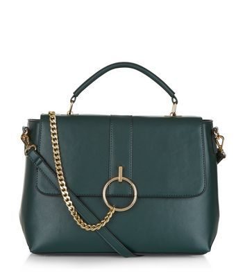 Dark Green Chain Satchel Bag - predominant colour: teal; secondary colour: gold; occasions: casual, work, creative work; type of pattern: standard; style: satchel; length: handle; size: standard; material: faux leather; pattern: plain; finish: plain; embellishment: chain/metal; season: a/w 2016; wardrobe: highlight