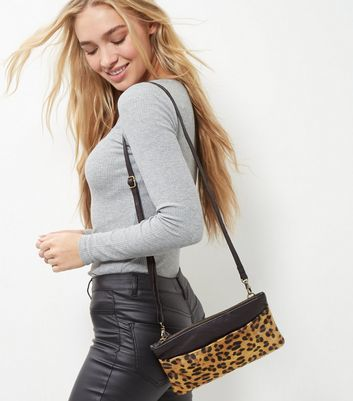 Brown Leather Leopard Print Leather Across Body Bag - predominant colour: camel; secondary colour: black; occasions: casual, evening, creative work; type of pattern: standard; style: shoulder; length: across body/long; size: standard; material: faux leather; pattern: animal print; finish: plain; season: a/w 2016; wardrobe: highlight