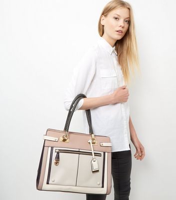 Mink Colour Block Zip Front Tote Bag - predominant colour: ivory/cream; occasions: casual, work, creative work; type of pattern: light; style: tote; length: handle; size: oversized; material: faux leather; finish: plain; pattern: colourblock; season: a/w 2016; wardrobe: highlight
