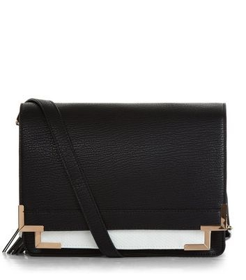 Black Contrast Square Satchel - predominant colour: black; occasions: casual, creative work; type of pattern: standard; style: satchel; length: across body/long; size: small; material: faux leather; pattern: plain; finish: plain; wardrobe: basic; season: a/w 2016