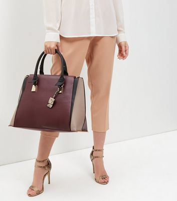 Burgundy Colour Block Tote Bag - predominant colour: burgundy; secondary colour: taupe; occasions: casual, work, creative work; type of pattern: standard; style: tote; length: handle; size: oversized; material: faux leather; pattern: plain; finish: plain; season: a/w 2016