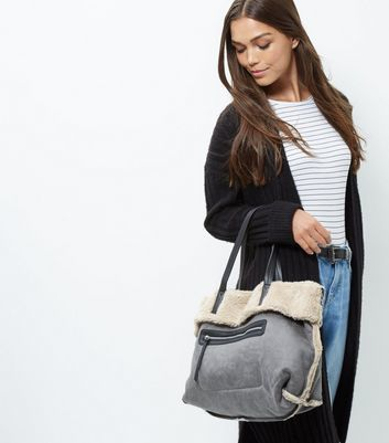 Grey Shearling Tote Bag - predominant colour: mid grey; occasions: casual; type of pattern: light; style: tote; length: handle; size: standard; material: faux leather; pattern: plain; finish: plain; wardrobe: investment; season: a/w 2016