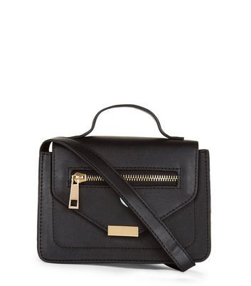 Black Mini Satchel Bag - predominant colour: black; occasions: casual; type of pattern: standard; style: satchel; length: across body/long; size: small; material: faux leather; pattern: plain; finish: plain; wardrobe: basic; season: a/w 2016