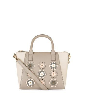 Mink 3 D Floral Mini Tote Bag - predominant colour: ivory/cream; occasions: casual, creative work; type of pattern: standard; style: tote; length: handle; size: mini; material: faux leather; pattern: florals; finish: plain; season: a/w 2016; wardrobe: highlight