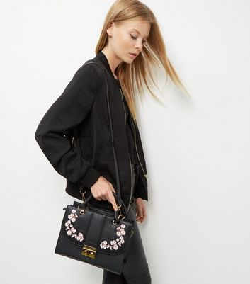 Black Embroidered Shoulder Bag - secondary colour: blush; predominant colour: black; occasions: casual, creative work; type of pattern: standard; style: shoulder; length: across body/long; size: standard; material: faux leather; embellishment: embroidered; pattern: plain; finish: plain; wardrobe: investment; season: a/w 2016