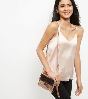 Bronze Metallic Shoulder Bag - predominant colour: bronze; occasions: casual; type of pattern: standard; style: shoulder; length: across body/long; size: small; material: faux leather; pattern: plain; finish: metallic; season: a/w 2016; wardrobe: highlight