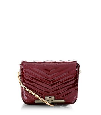 Burgundy Patent Quilted Chain Shoulder Bag - predominant colour: burgundy; occasions: evening; type of pattern: standard; style: shoulder; length: across body/long; size: standard; material: faux leather; pattern: plain; finish: patent; embellishment: chain/metal; season: a/w 2016; wardrobe: event
