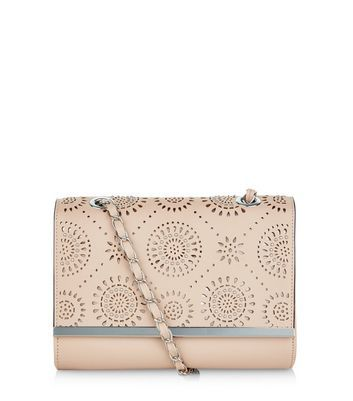 Cream Laser Cut Out Stud Chain Shoulder Bag - predominant colour: nude; occasions: evening; type of pattern: standard; style: shoulder; length: across body/long; size: standard; material: faux leather; pattern: plain; finish: plain; season: a/w 2016; wardrobe: event