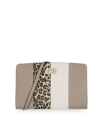 Grey Leopard Print Panelled Clutch - predominant colour: mid grey; occasions: evening, occasion; type of pattern: light; style: clutch; length: hand carry; size: standard; material: faux leather; finish: plain; pattern: colourblock; season: a/w 2016; wardrobe: event