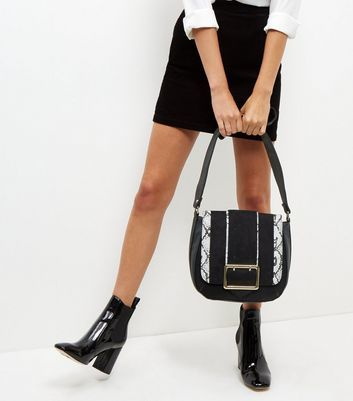 Black Snakeskin Print Panel Saddle Bag - secondary colour: white; predominant colour: black; occasions: casual; type of pattern: standard; style: saddle; length: shoulder (tucks under arm); size: standard; material: faux leather; pattern: animal print; finish: plain; season: a/w 2016; wardrobe: highlight