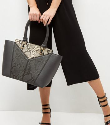 Black Snakeskin Print Panel Tote Bag - secondary colour: stone; predominant colour: charcoal; occasions: casual, creative work; type of pattern: standard; style: tote; length: handle; size: standard; material: faux leather; pattern: animal print; finish: plain; season: a/w 2016; wardrobe: highlight