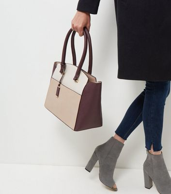 Burgundy Colour Block Tote Bag - secondary colour: taupe; predominant colour: stone; occasions: casual; type of pattern: standard; style: tote; length: handle; size: standard; material: faux leather; finish: plain; pattern: colourblock; multicoloured: multicoloured; season: a/w 2016; wardrobe: highlight