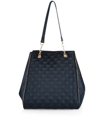 Black Quilted Panel Tote Bag - predominant colour: navy; occasions: casual, creative work; type of pattern: standard; style: tote; length: shoulder (tucks under arm); size: standard; material: faux leather; pattern: plain; finish: plain; wardrobe: investment; season: a/w 2016