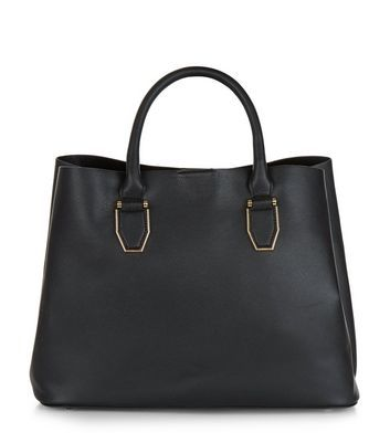 Black Tote Bag - predominant colour: black; occasions: casual, work, creative work; type of pattern: standard; style: tote; length: handle; size: standard; material: faux leather; pattern: plain; finish: plain; season: a/w 2016