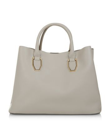 Grey Tote Bag - predominant colour: mid grey; occasions: work, creative work; type of pattern: standard; style: tote; length: handle; size: standard; material: faux leather; pattern: plain; finish: plain; wardrobe: investment; season: a/w 2016