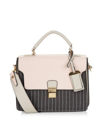 Pink Contrast Pinstripe Shoulder Bag - predominant colour: blush; secondary colour: black; occasions: casual, creative work; type of pattern: light; style: tote; length: handle; size: standard; material: faux leather; finish: plain; pattern: colourblock; season: a/w 2016; wardrobe: highlight