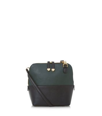 Dark Green Colour Block Across Body Bag - secondary colour: navy; predominant colour: dark green; occasions: casual, creative work; type of pattern: light; style: shoulder; length: across body/long; size: small; material: faux leather; finish: plain; pattern: colourblock; season: a/w 2016; wardrobe: highlight