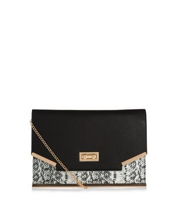 Black Snakeskin Print Panel Clutch Bag - predominant colour: black; occasions: evening, occasion; type of pattern: heavy; style: clutch; length: hand carry; size: standard; material: faux leather; pattern: animal print; finish: plain; embellishment: chain/metal; season: a/w 2016; wardrobe: event