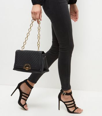 Black Quilted Chain Bag - predominant colour: black; occasions: casual, creative work; type of pattern: standard; style: shoulder; length: shoulder (tucks under arm); size: standard; material: faux leather; embellishment: quilted; pattern: plain; finish: plain; wardrobe: investment; season: a/w 2016