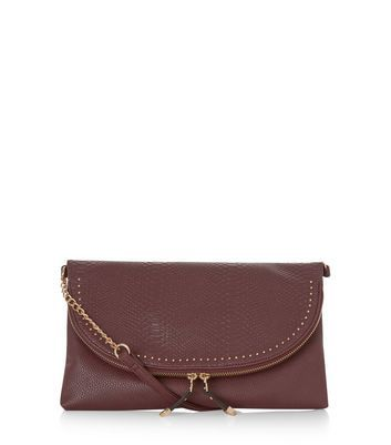 Burgundy Snakeskin Textured Stud Clutch - predominant colour: burgundy; occasions: evening, occasion; type of pattern: standard; style: clutch; length: hand carry; size: small; material: faux leather; pattern: plain; finish: plain; season: a/w 2016; wardrobe: event