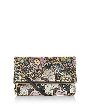 Silver Floral Print Clutch - secondary colour: blush; predominant colour: charcoal; occasions: evening; type of pattern: heavy; style: clutch; length: hand carry; size: small; material: faux leather; pattern: florals; finish: plain; multicoloured: multicoloured; season: a/w 2016; wardrobe: event