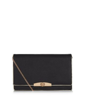 Black Leather Look Clutch - secondary colour: gold; predominant colour: black; occasions: evening, occasion; type of pattern: standard; style: clutch; length: hand carry; size: standard; material: faux leather; pattern: plain; finish: plain; embellishment: chain/metal; season: a/w 2016