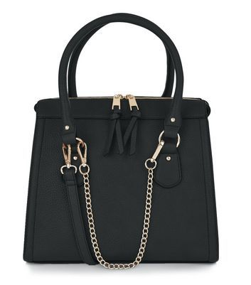 Black Chain Strap Structured Bag - secondary colour: gold; predominant colour: black; occasions: casual, work, creative work; type of pattern: standard; style: tote; length: handle; size: standard; material: faux leather; pattern: plain; finish: plain; embellishment: chain/metal; wardrobe: investment; season: a/w 2016