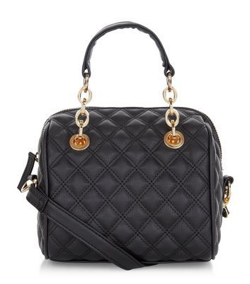 Black Quilted Mini Bowler Bag - predominant colour: black; occasions: casual, creative work; type of pattern: standard; style: bowling; length: across body/long; size: small; material: faux leather; embellishment: quilted; pattern: plain; finish: plain; season: a/w 2016