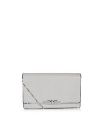 Grey Leather Look Clutch - predominant colour: light grey; occasions: evening; type of pattern: standard; style: clutch; length: hand carry; size: standard; material: faux leather; pattern: plain; finish: plain; season: a/w 2016; wardrobe: event