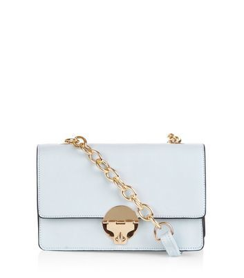 Pale Blue Colour Block Across Body Bag - predominant colour: white; secondary colour: gold; occasions: casual; type of pattern: standard; style: messenger; length: across body/long; size: small; material: faux leather; pattern: plain; finish: plain; embellishment: chain/metal; season: a/w 2016; wardrobe: highlight