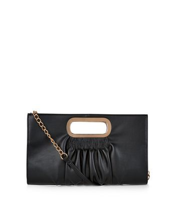 Black Ruched Metal Handle Clutch - secondary colour: gold; predominant colour: black; occasions: evening; type of pattern: standard; style: clutch; length: hand carry; size: standard; material: faux leather; pattern: plain; finish: plain; embellishment: chain/metal; season: a/w 2016; wardrobe: event