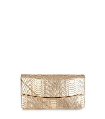 Gold Snakeskin Texture Clutch - predominant colour: gold; occasions: evening; type of pattern: standard; style: clutch; length: hand carry; size: small; material: faux leather; pattern: plain; finish: metallic; season: a/w 2016; wardrobe: event