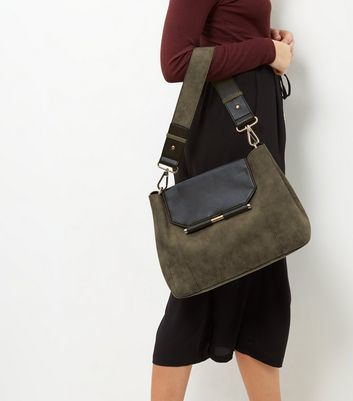 Grey Metal Bar Shoulder Bag - predominant colour: khaki; secondary colour: black; occasions: casual; type of pattern: standard; style: shoulder; length: shoulder (tucks under arm); size: standard; material: faux leather; pattern: plain; finish: plain; multicoloured: multicoloured; season: a/w 2016