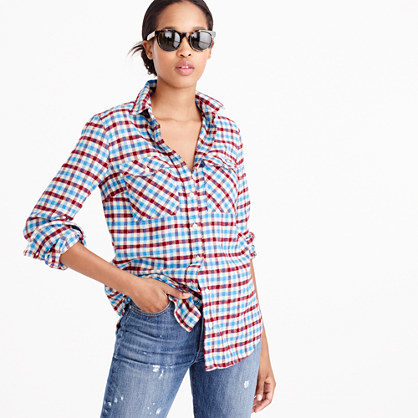 Tall Boyfriend Shirt In Crimson Petal Plaid - neckline: shirt collar/peter pan/zip with opening; pattern: checked/gingham; length: below the bottom; style: shirt; secondary colour: burgundy; predominant colour: pale blue; occasions: casual; fibres: cotton - 100%; fit: loose; sleeve length: long sleeve; sleeve style: standard; texture group: cotton feel fabrics; pattern type: fabric; multicoloured: multicoloured; season: a/w 2016; wardrobe: highlight