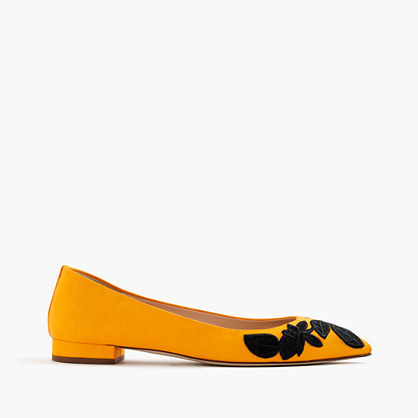 Embroidered Pointed Toe Flats - predominant colour: yellow; secondary colour: black; occasions: casual, creative work; material: suede; heel height: flat; embellishment: embroidered; toe: pointed toe; style: ballerinas / pumps; finish: plain; pattern: plain; season: a/w 2016
