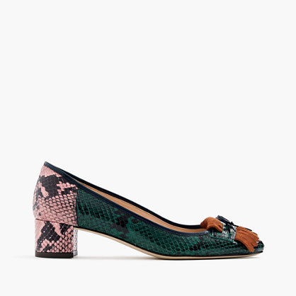 Snakeskin Printed Leather Heels With Fringe - predominant colour: dark green; occasions: casual, creative work; material: leather; heel height: mid; heel: block; toe: round toe; style: courts; finish: plain; pattern: animal print; embellishment: fringing; multicoloured: multicoloured; season: a/w 2016; wardrobe: highlight