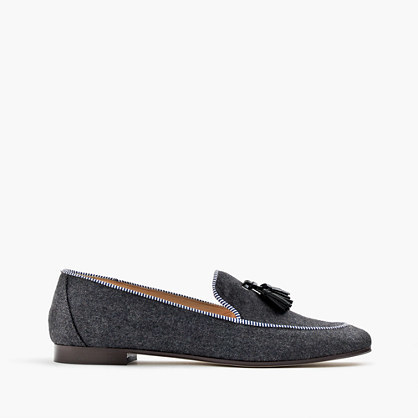Charlie Loafers In Wool Flannel - predominant colour: charcoal; occasions: casual, work, creative work; material: suede; heel height: flat; embellishment: tassels; toe: pointed toe; style: loafers; finish: plain; pattern: plain; wardrobe: basic; season: a/w 2016