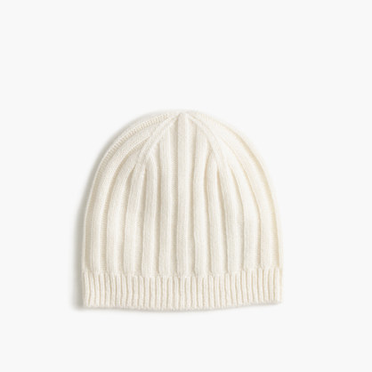 Ribbed Cashmere Hat - predominant colour: ivory/cream; occasions: casual; type of pattern: standard; style: beanie; size: standard; material: knits; pattern: plain; season: a/w 2016
