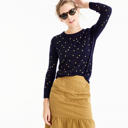 Tippi Sweater In Embroidered Stars - style: standard; predominant colour: navy; occasions: casual; length: standard; fibres: wool - 100%; fit: standard fit; neckline: crew; sleeve length: long sleeve; sleeve style: standard; texture group: knits/crochet; pattern type: knitted - fine stitch; pattern: patterned/print; embellishment: embroidered; season: a/w 2016; wardrobe: highlight