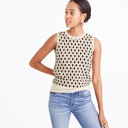 Lightweight Wool Jackie Shell In Argyle - sleeve style: sleeveless; predominant colour: ivory/cream; secondary colour: black; occasions: casual; length: standard; style: top; fibres: wool - 100%; fit: body skimming; neckline: crew; sleeve length: sleeveless; texture group: knits/crochet; pattern type: knitted - fine stitch; pattern: patterned/print; multicoloured: multicoloured; season: a/w 2016; wardrobe: highlight