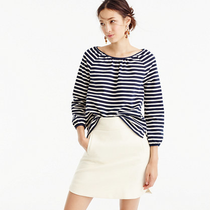 Striped Peasant Top - neckline: round neck; pattern: horizontal stripes; predominant colour: ivory/cream; secondary colour: black; occasions: casual; length: standard; style: top; fibres: cotton - 100%; fit: loose; sleeve length: 3/4 length; sleeve style: standard; texture group: cotton feel fabrics; pattern type: fabric; multicoloured: multicoloured; wardrobe: basic; season: a/w 2016