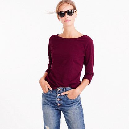 Scoopback Ballet T Shirt - pattern: plain; style: t-shirt; predominant colour: burgundy; occasions: casual; length: standard; fibres: linen - mix; fit: body skimming; neckline: crew; sleeve length: 3/4 length; sleeve style: standard; pattern type: fabric; texture group: jersey - stretchy/drapey; season: a/w 2016; wardrobe: highlight