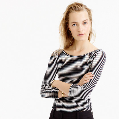 Scoopback Ballet T Shirt In Stripe - neckline: round neck; pattern: horizontal stripes; style: t-shirt; secondary colour: white; predominant colour: black; occasions: casual; length: standard; fibres: cotton - mix; fit: body skimming; sleeve length: 3/4 length; sleeve style: standard; pattern type: fabric; texture group: jersey - stretchy/drapey; multicoloured: multicoloured; wardrobe: basic; season: a/w 2016