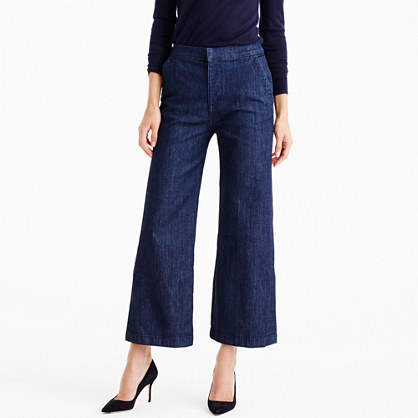 Rayner Trouser Jean In Dark Wash - pattern: plain; waist: mid/regular rise; predominant colour: navy; occasions: casual; length: ankle length; fibres: cotton - stretch; texture group: denim; fit: wide leg; pattern type: fabric; style: standard; wardrobe: basic; season: a/w 2016