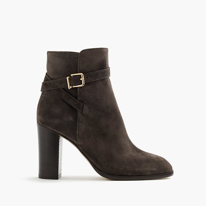 Suede Ankle Boots With Wraparound Buckle - predominant colour: black; occasions: casual; material: suede; heel height: high; embellishment: buckles; heel: block; toe: round toe; boot length: ankle boot; style: standard; finish: plain; pattern: plain; season: a/w 2016; wardrobe: highlight