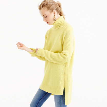Collection Italian Cashmere Mohair Turtleneck Sweater - pattern: plain; length: below the bottom; neckline: roll neck; style: standard; predominant colour: primrose yellow; occasions: casual; fit: loose; back detail: longer hem at back than at front; fibres: cashmere - 100%; sleeve length: long sleeve; sleeve style: standard; texture group: knits/crochet; pattern type: knitted - other; season: a/w 2016; wardrobe: highlight