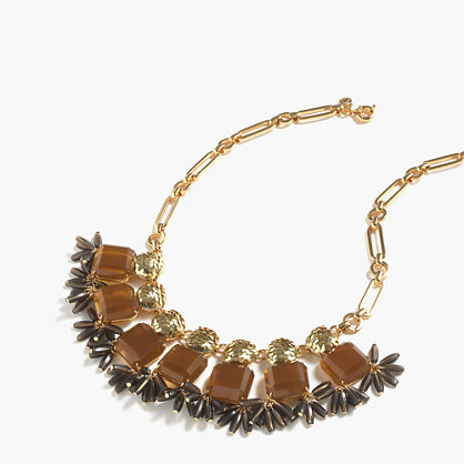 Mixed Crystal Necklace - predominant colour: gold; occasions: evening, occasion; length: mid; size: large/oversized; material: chain/metal; finish: metallic; embellishment: beading; style: bib/statement; season: a/w 2016