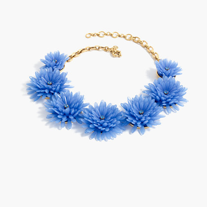 Blossom Necklace - predominant colour: diva blue; occasions: casual, creative work; length: mid; size: large/oversized; material: chain/metal; finish: plain; style: bib/statement; season: a/w 2016; wardrobe: highlight